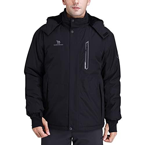 CAMEL CROWN Men's Mountain Snow Waterproof Ski Jacket Detachable Hood Windproof Fleece Parka Rain...