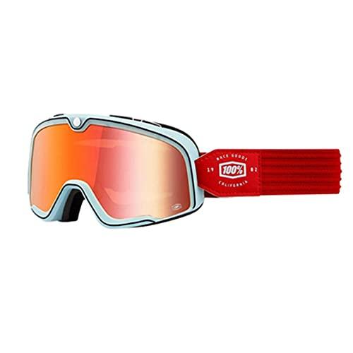 LZJDS Gafas Retro Harley Motocicleta Gafas Parabrisas Off-Road Medio Casco Casco Completo Gafas De Esquí para Adultos Y Jóvenes,White Red,One Size