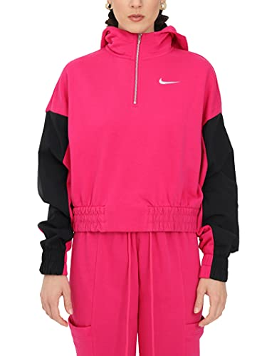 NIKE W NSW ICN CLSH Hoodie QZ Mix Sweatshirt, Fireberry/Black/(White), M Womens