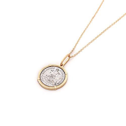 Damesketting met Europese en Amerikaanse wind, halsketting met munten van goud en zilver.