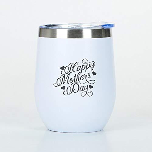 Happy Mothers Day - Vaso de viaje de acero inoxidable con tapa, vasos de vino de acero inoxidable, regalo para mamá, abuela