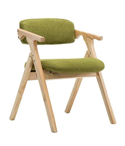 Zfggd Sillas de Comedor Silla de Comedor, Inicio de la Tela tapizada Sillón, Silla de Madera Maciza Ocio, cómoda Silla Plegable (Color : Green)