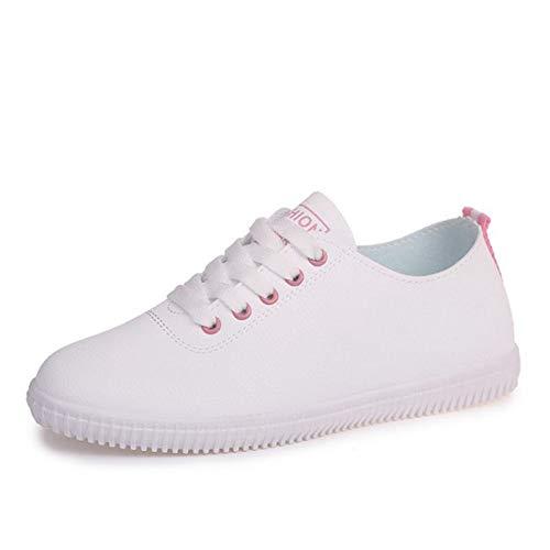 Zapatillas de Mujer para Mujer Zapatos vulcanizados Low Top Spring Summer Lightweigh Lace Up Punta Rojoonda Zapatos de Moda Casual para Mujer