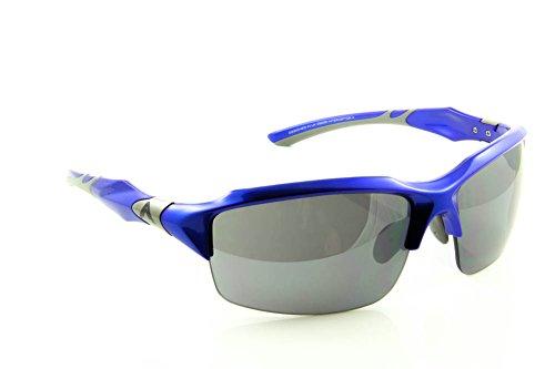 WrApz Interceptor - NEW 2014 Range Sports Sunglasses - Blue TR90 Flex Frame with Smoke Flash UV400 Lens - FREE Polishing Pouch