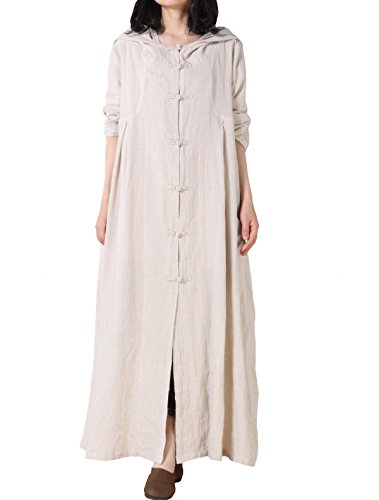 Mordenmiss Women's Trench Coat Cotton Linen Hoodie Jacket Long Sleeve Chinese Frog Button Outfit Style 1 L Apricot