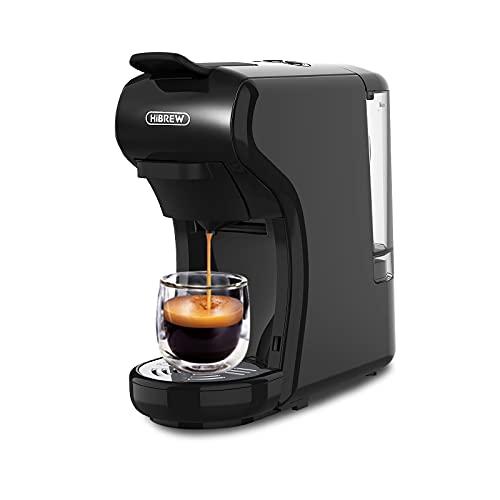 HiBREW Machine à café expresso 4 en 1 à capsules multiple, machine à café en dosettes Dolce Goût néspresso en poudre H1 (Noir)