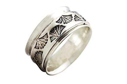 Energy Stone GINKGO HEALER Sterling Silver Meditation Spinner Ring (UK82) (P 1/2)