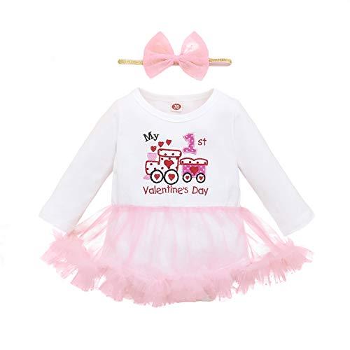 Falda tutú de Malla con Volantes con Estampado de San Valentín de Manga Larga para bebé de una Pieza + Juego de Lazo para el Cabello de 3 a 18 Meses