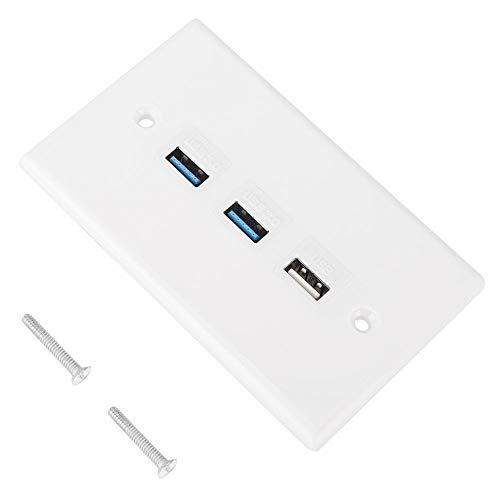 3-poorts USB 2.0/3.0 wandplaat, stekkerdoos, afdekplaat dockingstation voor thuiskantoor gebouwen, wit