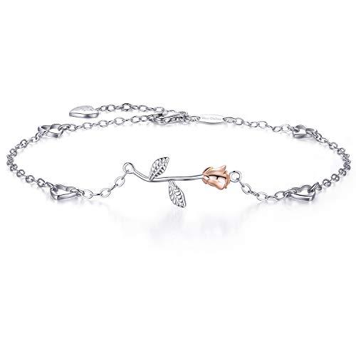 Van Chloe Donne 925 sterline d'argento Amore rosa fiore Braccialetto alla caviglia con diamanti CZ placcato oro bianco alla caviglia per donne ragazze
