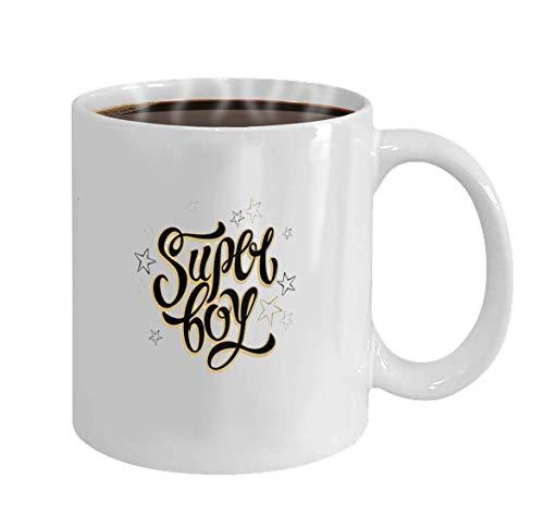 N\A Año Nuevo Taza de té o café o Vino Taza Blanca de cerámica 100% Super Boy Letras Letras Inspiradoras para Ropa Estrellas Doradas Ilustración Vectorial