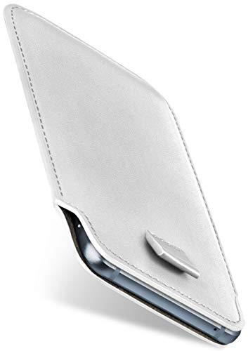 moex Slide Hülle für CAT S60 - Hülle zum Reinstecken, Etui Handytasche mit Ausziehhilfe, dünne Handyhülle aus edlem PU Leder - Weiß
