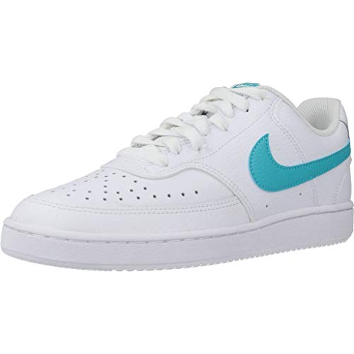 Nike Damen Court Vision Low Sneaker, Weiß (WHITE/ORACLE AQUA-WHITE), 42 EU