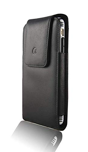 """monsoon [Alpha] Genuine Leather Case Holster with Belt Clip for iPhone 12 / iPhone 12 PRO / iPhone 11 / XR - fits 6.1"""" iPhone with Slim Case"""
