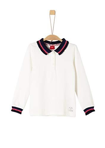 s.Oliver Mädchen 53.908.35.5938 Poloshirt, Beige (Ecru 0210), 128 (Herstellergröße: 128/134/REG)
