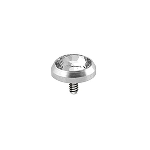 Klar 5MM Runde Crystal Stein 316L Chirurgenstahl Gewinde intern Top Micro Dermal Anchor Piercing-Schmuck