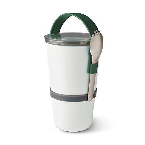 Black+Blum Lunch Pot Original Fiambrera apilable, sin BPA, a Prueba de Fugas, Apta para microondas, con Cuchara de Acero Inoxidable, Verde Oliva, 900 ml