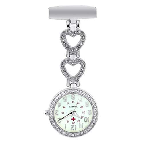 KSW_KKW Reloj Broche reloj de bolsillo en el pecho Cadena for mujer de la enfermera del clip reloj de la enfermera del cuarzo del reloj de bolsillo colgante doctor Nurse Watch (Color: reloj de bolsill