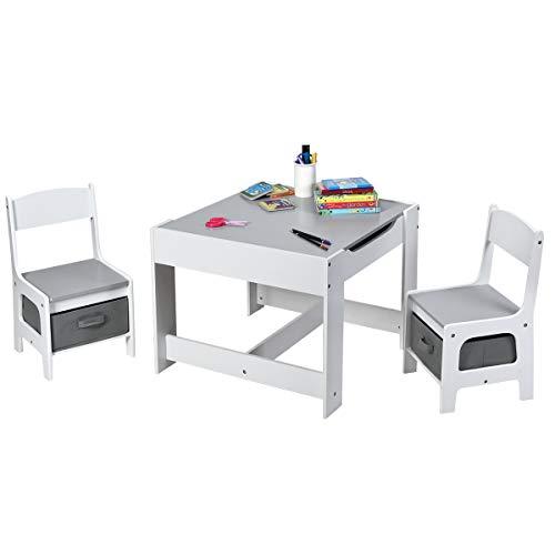 COSTWAY 3 TLG. Kindersitzgruppe, Sitzgruppe Kinder aus Holz, Kindertisch mit 2 Stühlen, Kindertischgruppe, Kindermöbel, Maltisch, Kindersitzgarnitur, für Kleinkinder im Alter von 3-7 Jahren (Grau)