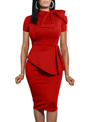 LAGSHIAN Women Fashion Peplum Bodycon Short Sleeve Bow Club Ruffle Pencil Office Party Dress Red