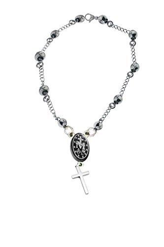 Ben Junot USA - Original Católica-Rosario Pray Pulsera Acero-Medalla Milagrosa-Longitud (7,5Pulgadas) (19cm)
