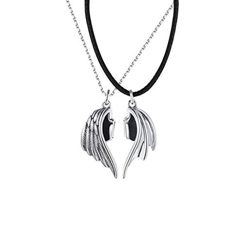SHURROW Un par de Dos Almas, un Collar de corazón, Cadena de Cuello de Pareja, Colgante Simple y Ligero para Hombres, Mujeres, Regalos de San Valentín, Collar de Pareja, Plata