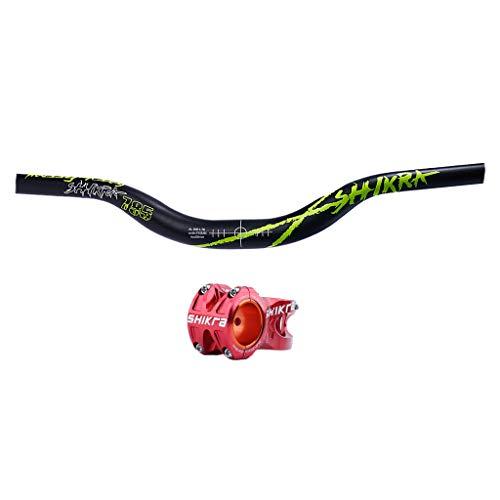 SM SunniMix Manillar de Subida de Bicicleta de Montaña φ31.8mm Vástago Rojo hacia Abajo BMX Engranaje Fijo Hi-Rise