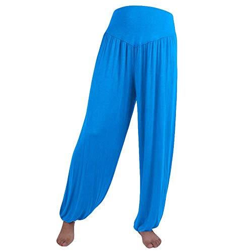 WOZOW Yoga Hosen Damen Baggy Solid Einfarbig Aladdin Indian Thiland Lang Long Bloomers Soft Loose Lose High Waist Casual Bequem Haremshose Pumphose Trousers Stoffhose Freizeithose (L,Himmelblau)
