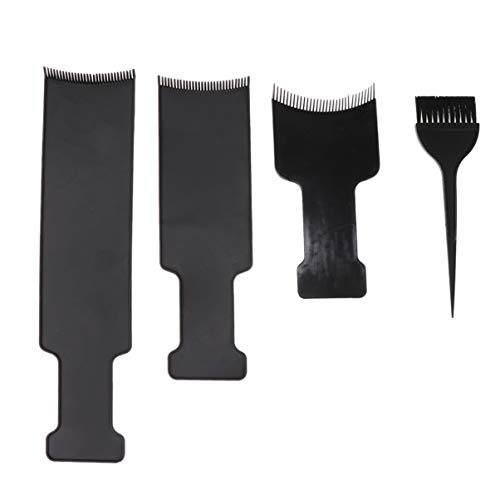 Lurrose 4 piezas Juego tablero balayage y cepillo 3 piezas tablero peine plano superior balayage paddle tableros reflejos profesionales y cepillos para teñir cabello para peluquería y bricolaje casero