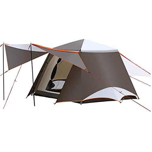 FEANG Zelt 3-6 Personen Doppelschicht 2 Halle 1 Zimmer Große Outdoor-Familien-Partyzelte Big Space Wasserdicht Anti-UV-Campingzelt Kuppelzelt (Color : Brown)