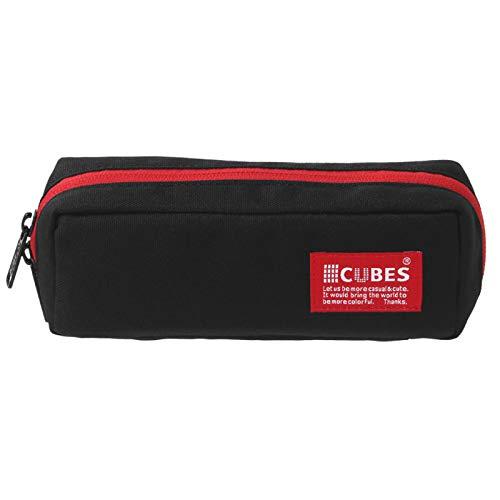 (キューブ) CUBES CB-1150 ペンケース ペンポーチ ふで箱 (BLACK-RED)