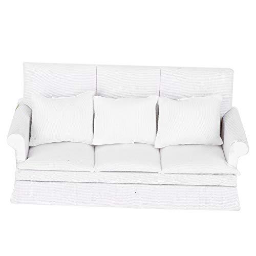 Camidy 1:12 Mini Sofá de Casa de Muñecas con 3 Piezas de Almohada Muebles de Sala de Muñecas de Madera Accesorios de Decoración de Juguetes (Blanco)