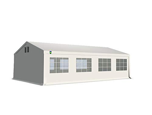 KC Partyzelt 5x8 m Pavillon Zelt 240g/m² - PE Plane - Gartenzelt Festzelt Bierzelt - Rahmen aus Stahl - Inkl. Seitenwände & Giebelwände - Weiß