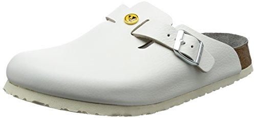 Birkenstock 61370-40-normales Schuh BOSTON Antistatik/Naturleder WEISS Gr. 40-normales Fußbett, Größe