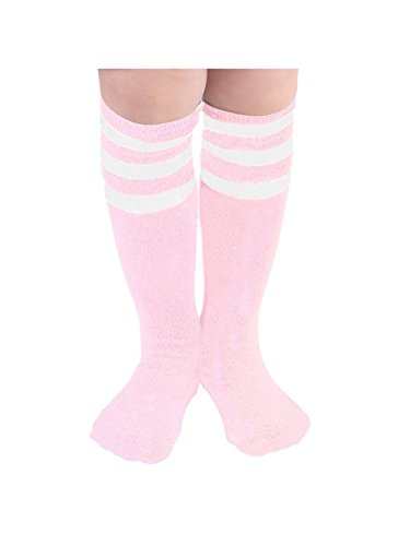 Kids Child Soccer Socks Stripes Knee High Tube Socks Cotton Uniform Sports Socks for Toddler Boys Girls 1 Pack Pink White