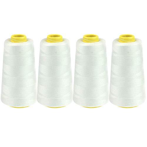 Hilo de coser de poliéster, 4 conos grandes 3000 yardas (negro, blanco) Cono de overlock 100% poliéster hilado para máquina de coser, lienzo, cuentas, acolchado, serger, merrow, aguja única