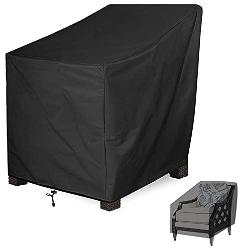 Abdeckung für Gartenstühle Wasserdicht 210d Oxford Veranda Sessel Schutz, Tief Sitzender Patio Lounge Stuhlbezug Außenbezug Mit Hoher Rückenlehne, 64x64x70Pcm, Schwarz,1 Pack