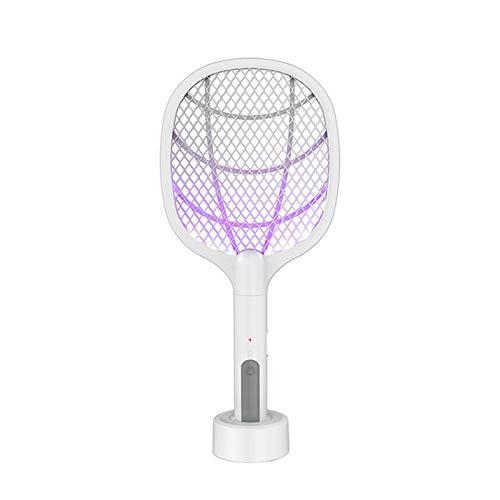 Matamosquitos eléctrico, lámpara de mosquito de raqueta recargable con base de carga,...