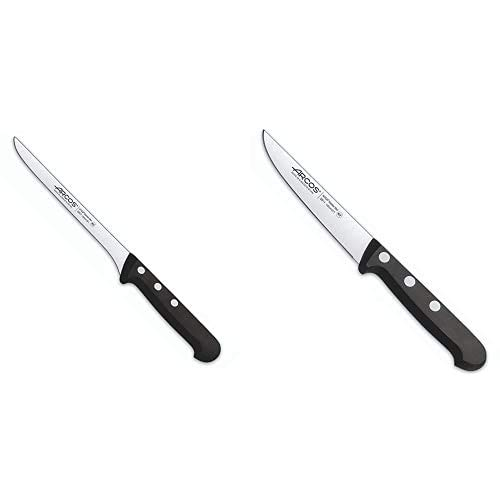 Arcos Serie Universal, Cuchillo Fileteador, Hoja De Acero Inoxidable Nitrum 160 Mm + Cuchillo Universal Verduras 100Mm, Acero Inoxidable, Plateado, 25X7X2 Cm