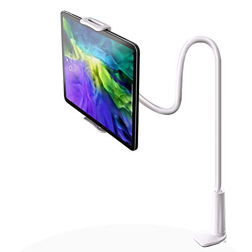 "SRMATE Gooseneck Tablet/Cellphone Stand, Tablet Mount Holder for 4.7-10.5"" Devices iPad Air Mini iPhone Series/Kindle Fire/E-Reader/Nintendo Switch, 30in Overall Length (White)"