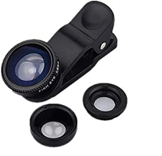 Phone Camera Lens, 180 Fisheye Lens + 25X Macro Lens + 0.67X Wide Angle Lens, Clip-On 3 IN 1 Professional HD Cell Phone Le...