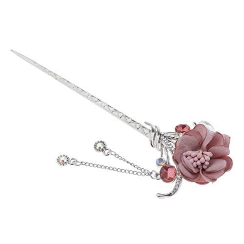 P Prettyia Vintage Haarnadeln Haarstock Haarnadel Haar-Stick Haarstab Haarspange Haarstift Blume für Damen Mädchen - Rosa