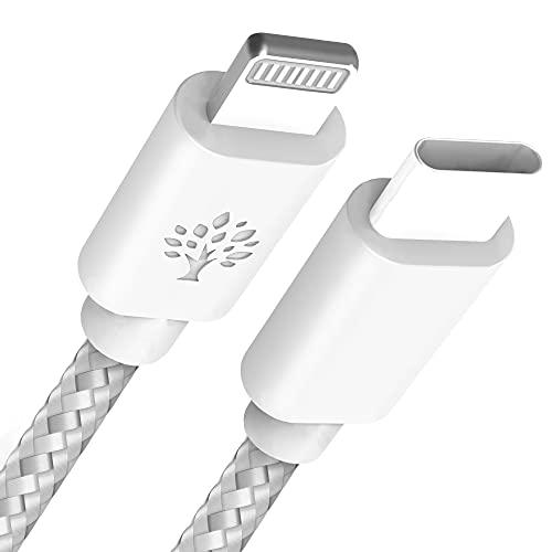 Cable iPhone USB C Certificado MFI, USB Type C (1 m) Cable cargador USB C Lightning Sync Braided Cable | Carga rápida 5V/3A, 9V/2.22A, 12V/1.67A | Velocidad de transferencia 480Mbps