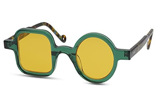 PADQ Gafas de SolVintage paraHombre, con Montura de Pesca, Espejo, UV400, Gafas de Sol para Mujer, Verde