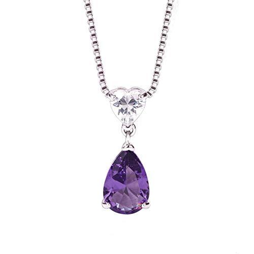 NPQLFUI Halskette Pa Shi Herz Anhänger Halskette Weiblichen Blauen Kristall Herz Anhänger