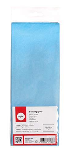 Rayher 67270360 Seidenpapier, himmelblau, 50x75cm, 5 Bogen, 17g/m², lichtecht, farbfest, leicht transparentes, dünnes Papier, Geschenkpapier, Papier zum Basteln