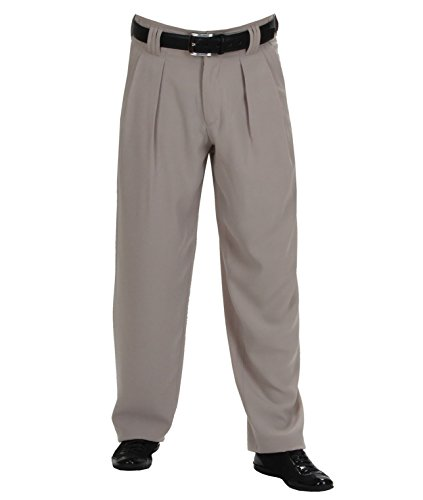 Herren Bundfaltenhose in Beige mit Extraweit geschnittene Beine, Boogie Woogie Herren Tanzhosen von HK Mandel Model Boogie Größe 60
