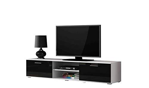 Tv Schrank SOHO 180, Lowboard, Unterschrank, 2 Türiger (Weiß/Schwarz Hochglanz)