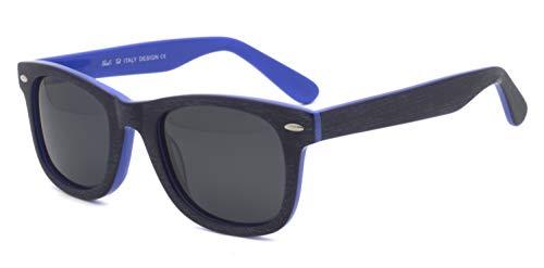 Cara pequeña hombres mujeres adolescente Superficie cepillada Raya de madera Remache clásico Acetato sin deslumbramiento súper moda Gafas de sol de color azul madera