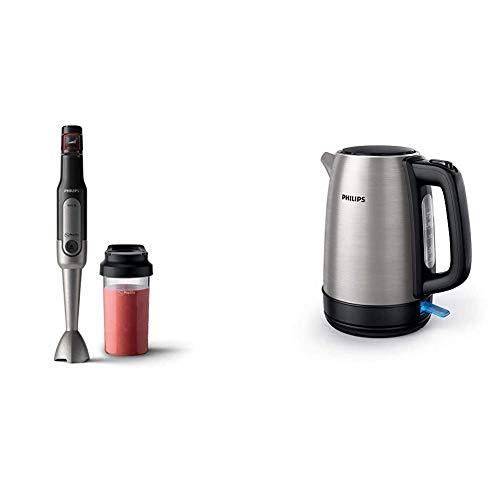 Philips Stabmixer Viva HR2650/90 (800W, SpeedTouch, inkl. 2-in-1 Togo Trinkflasche & Mixbecher) edelstahl & HD9350/90 Wasserkocher (2200 Watt, 1.7 Liter, Edelstahl)[Energieklasse A+++]